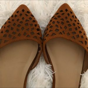 Brown Laser Cut Pointed Toe Flats